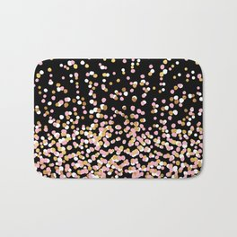 Floating Dots - White, Gold and Pink on Black Bath Mat