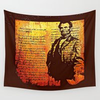 lincoln Wall Tapestries featuring Abraham Lincoln by Saundra Myles