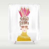 hat Shower Curtains featuring Pencil Hat by Shakkedbaram