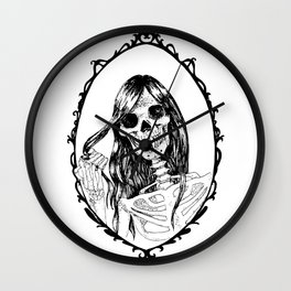 Skull in the Mirror White Background Wall Clock