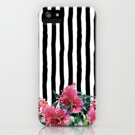 Black white brushstrokes pink watercolor floral stripes iPhone Case