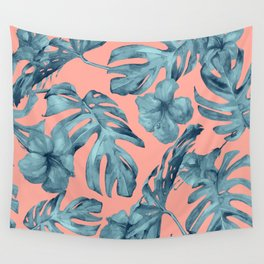 Island Life Teal on Coral Pink Wall Tapestry