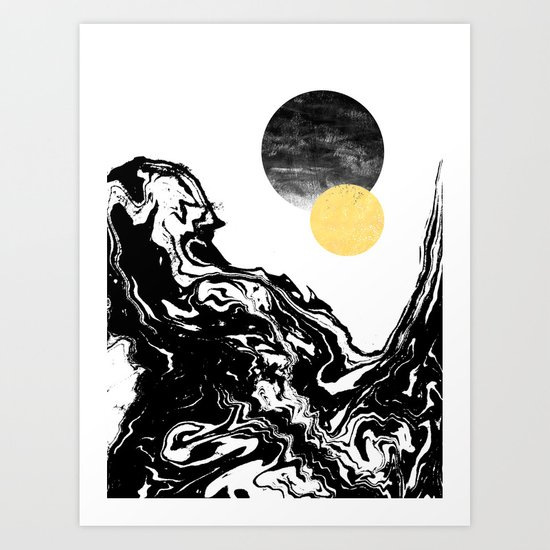 Eugenia - abstract mixed media black white gold foil sunrise sunset painting earth galaxy space sea Art Print