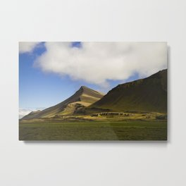 Iceland Mountains - Travel Photography Art Metal Print