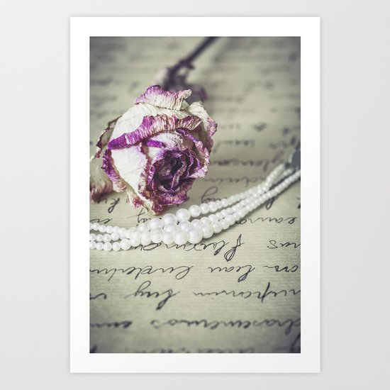 love letter with pearls and rose Art Print
