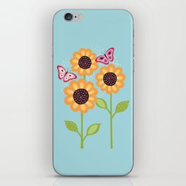 Yellow sunflowers and butterflies iPhone Skin