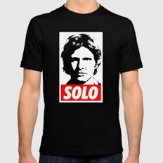 Obey Han Solo (solo text version) - Star Wars MEDIUM Black Mens Fitted Tee