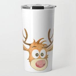 Reindeer Watercolor Christmass Cartoon - White Background Travel Mug