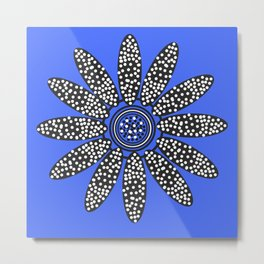 Daisy dot, blue, black, white Metal Print