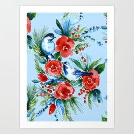 Winter Birds Light Blue Art Print