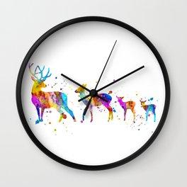 Watercolor Deer Family Wall Clock