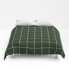 Small Grid Pattern - Deep Green Comforters