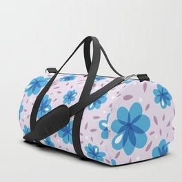 Gentle Blue Flowers Pattern Duffle Bag