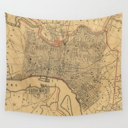 Vintage Map of Philadelphia Pennsylvania (1857) Wall Tapestry
