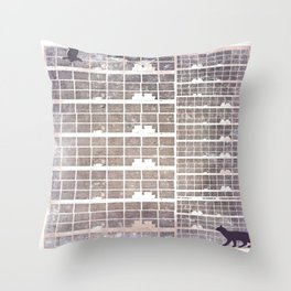 Our building, early in the morning Throw Pillow