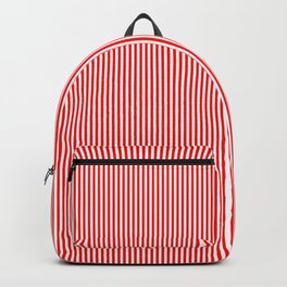 Thin Berry Red and White Rustic Vertical Sailor Stripes Backpack