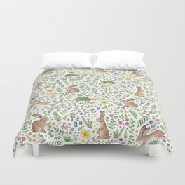 Spring Time Tortoises and Hares Duvet Cover