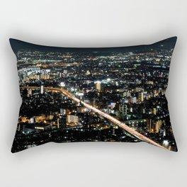 City View 'Night in Osaka, Japan' Rectangular Pillow