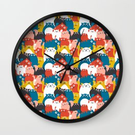 Cats Crowd Pattern Wall Clock