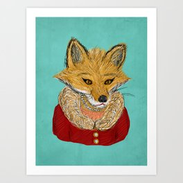 Sophisticated Fox Art Print Art Print