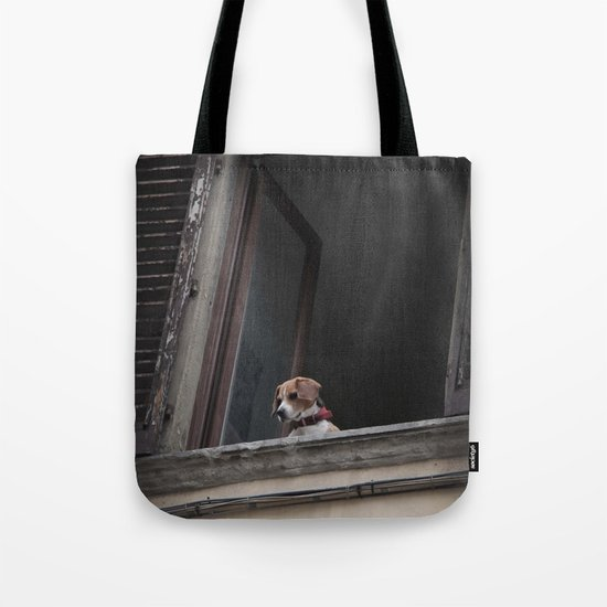 take me with you _ Beagle in a window Tote Bag