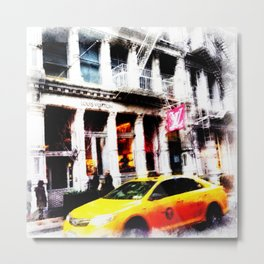 Yell0w cab in Soho Metal Print