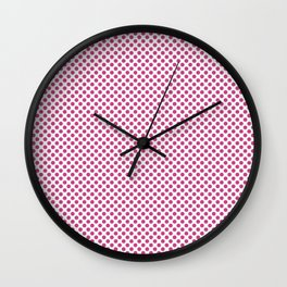Raspberry Rose Polka Dots Wall Clock