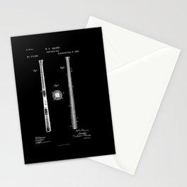 Baseball Bat Patent 1885 black and white Stationery Cards