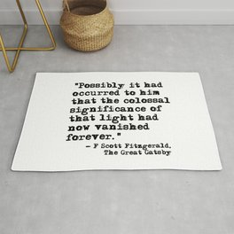 The colossal significance of that light - Fitzgerald quote Rug
