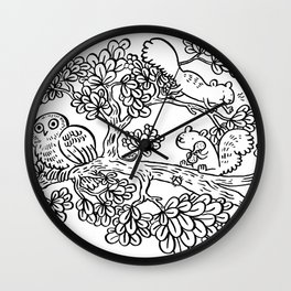 Forest Friends in Foliage Wall Clock