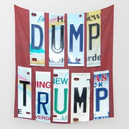 "No Trump! Anti Trump Gifts. ""Dump Trump"" in Sassy License Plate Lettering Wall Tapestry"