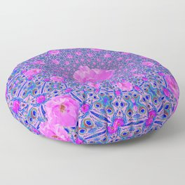 ORNATE THOUSANDS PINK ROSES & BLUE  ABSTRACT Floor Pillow