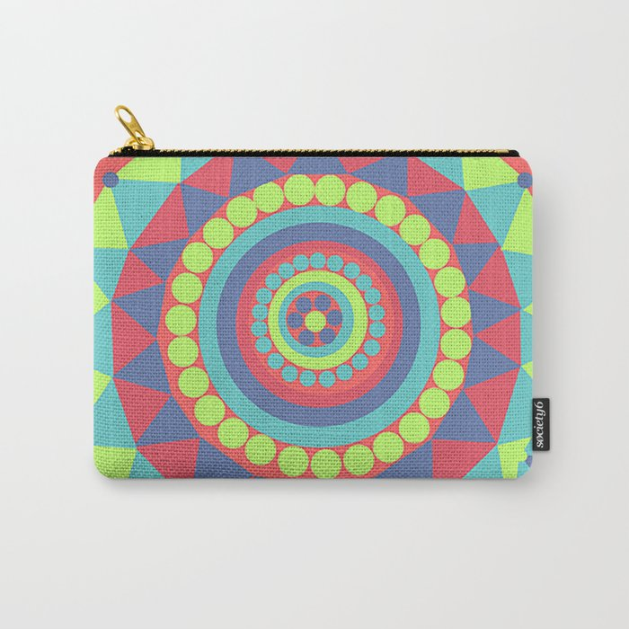 Bright Geometrical Abstract Circles and Triangles Flowers Carry-All Pouch