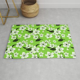Light Green & White Sakura Cherry Tree Flower Blooms on Dark Green - Aloha Hawaiian Floral Pattern Rug