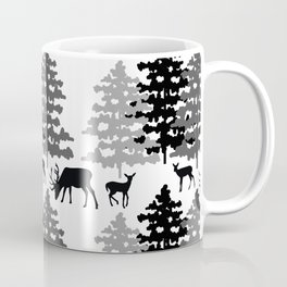 Woodland Rustic Deer Winter Mountain Forest Trees Coffee Mug