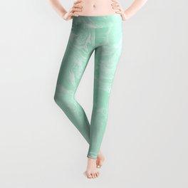 Mint Green Pastel Marble Minimalist Leggings