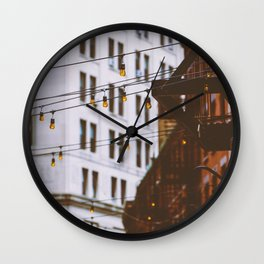 New York City Buildings and Lights (Color) Wall Clock