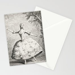 The Dancers, 18th century French ballet woman, black white drawing Stationery Cards