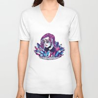 crystals V-neck T-shirts featuring Crystals by Wooden Doe