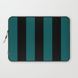 Simple Vertical Stripes - Black & Bayberry Green Laptop Sleeve