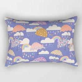 Spring Rain with Umbrellas Rectangular Pillow