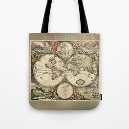 Old map of world (both hemispheres) Tote Bag