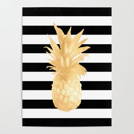 Gold Pineapple Black and White Stripes Poster