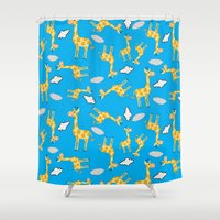 giraffes Shower Curtains featuring giraffes  by lindseyclare