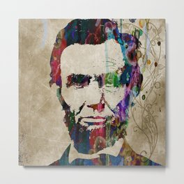 Abraham Lincoln Watercolor Modern Abstract GIANT PRINT ART Metal Print