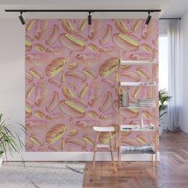 Doughnuts - watercolour - pink Wall Mural