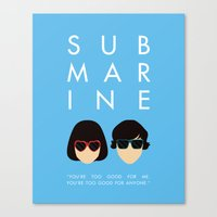 submarine Canvas Prints featuring Submarine by Loverly Prints