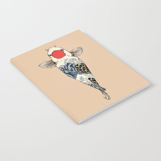 The Great Wave Of Koi Notebook