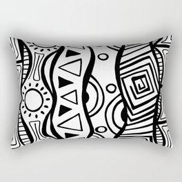 Four Waves - Freestyle Tribal Doodle Design Rectangular Pillow