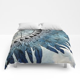 blue feather dreamcatcher Comforters